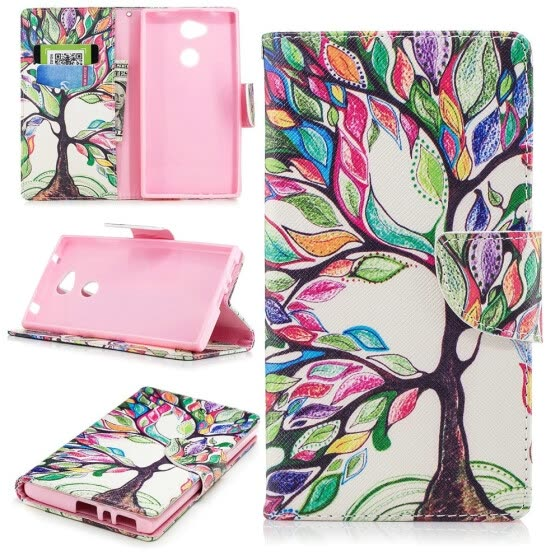 "BEFOSPEY Painting PU Leather+Soft TPU Card Slot Stand Wallet Case For Sony Xperia L2(5.5"")(2018)"