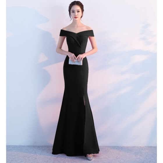 a4a627f48a16 Banquet evening dress 2017 new elegant long paragraph shoulder fishtail  host dress dress