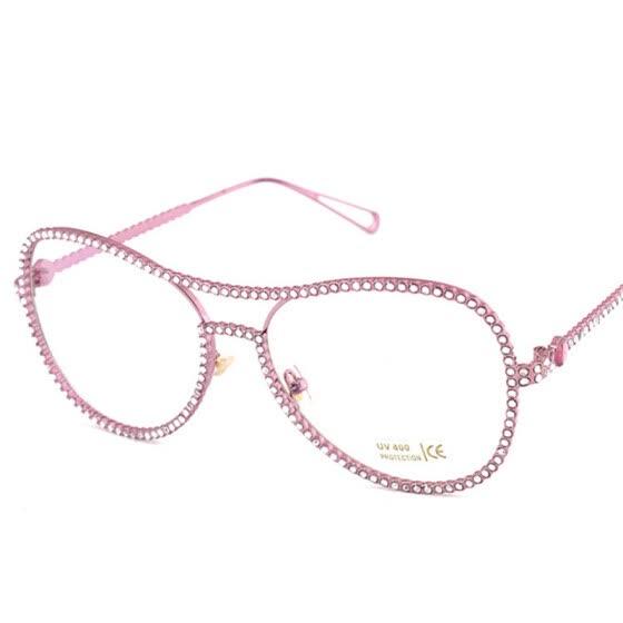 1ea50801988d Fashion Glasses Frame Women Crystal Diamond Brand Designer Metal Optics  Classic Eyeglasses Frames Clear Transparent