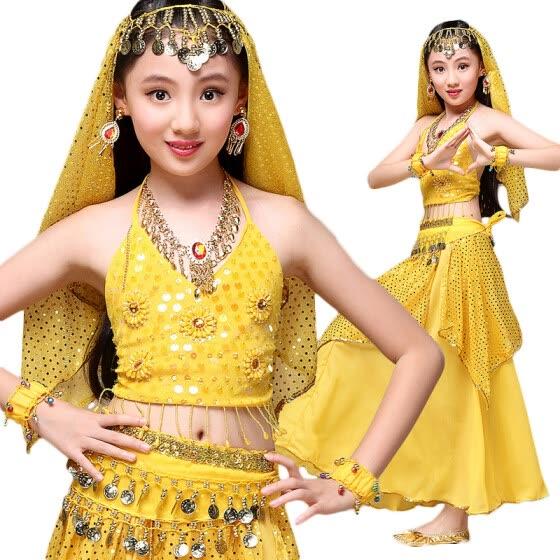 Индийский сариский индийский танец Комплект из 5 предметов (верх, пояс, юбка и головные части) Костюмы для девочек Болливуда для д
