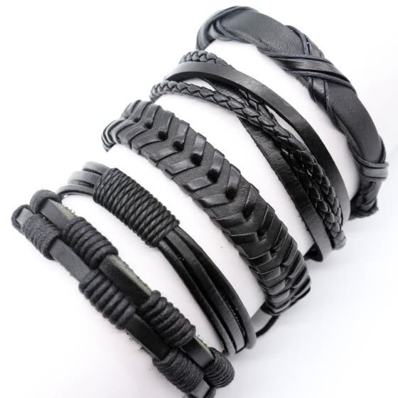 5Pcs Unisex Men Women Black Brown Colorful Leather Bracelet Wristband