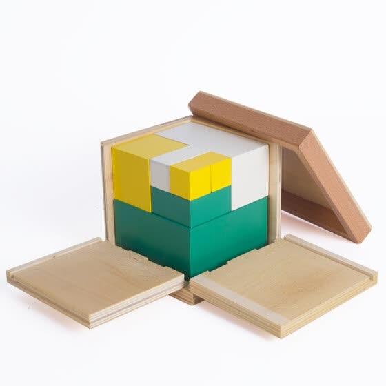 2 Bebé Madera Para De Math Power Cube Of Montessori Juguete drxoeBC