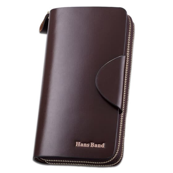 HansBand® Fashion Men's long wallet real Genuine Leather Brown Wallets Purse long Wallet Famous Brand handbags Men clutch
