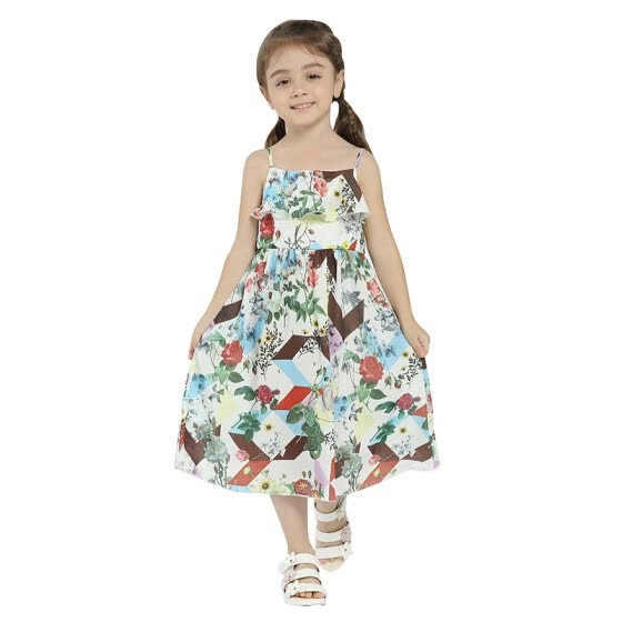 Girls Summer Dress 2018 New Arrival Print Flowers Dresses Kids Clothes Knee Length Girl Dresses Spring Cotton broadcloth