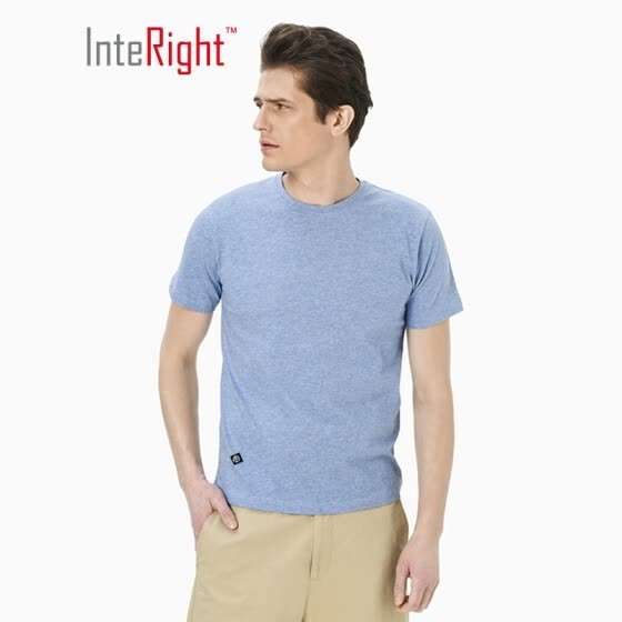 INTERIGHT Men's T-Shirt Round Neck Cotton Casual Short Sleeve Lake Blue XXL