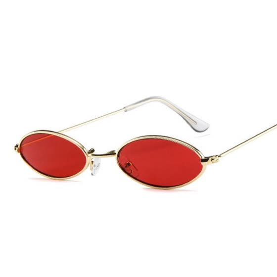 1101243e6bc Vintage Small Oval Sunglasses Fashion Brand Women Men Metal Frame Clear Red  Lens Shades Sun Glasses