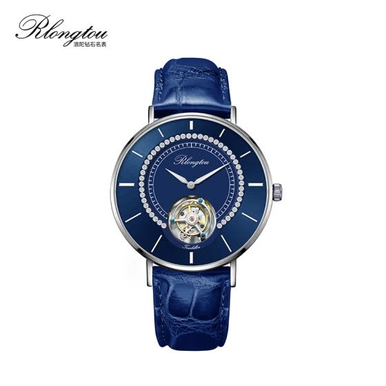 RlongTou watch male slim slim tourbillon 104M-P-B steel color blue face diamond