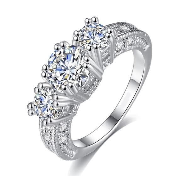 Shop Silver Color Aaa Cz Crystal Fashion Wedding Engagement Ring