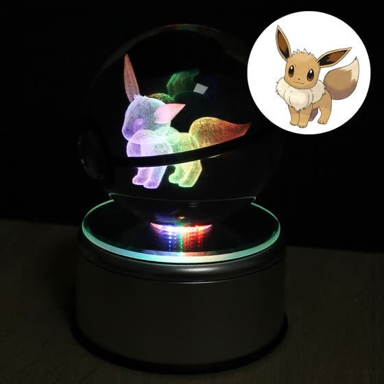 Eevee 8CM Pokeball Crystal ball Desktop Decoration Light Glass Ball LED Colorful Base Lamp for Decorative Gift