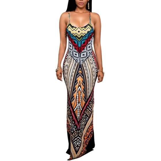 Bigood Women Occident Boho Floral V Neck Maxi Dress Braces Skirt