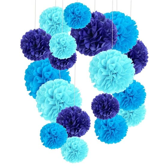 6inch 1piece pompon Tissue Paper Pom Poms Flower Balls for wedding room Decoration Party Supplies diy craft paper flower