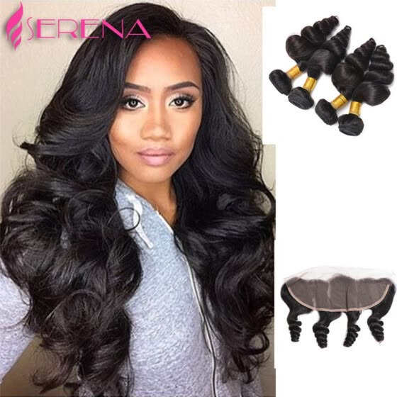 13x4 Swiss Lace Frontal Closure With 4 Bundles 100% Brazilian Virgin Hair loose curly Wave Free Shipping Hair Weave For Sale