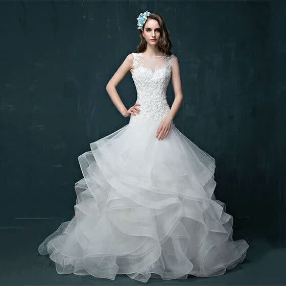 Lace Hollow Out Bridal Gowns Organza Wedding Dress White Mermaid Dress