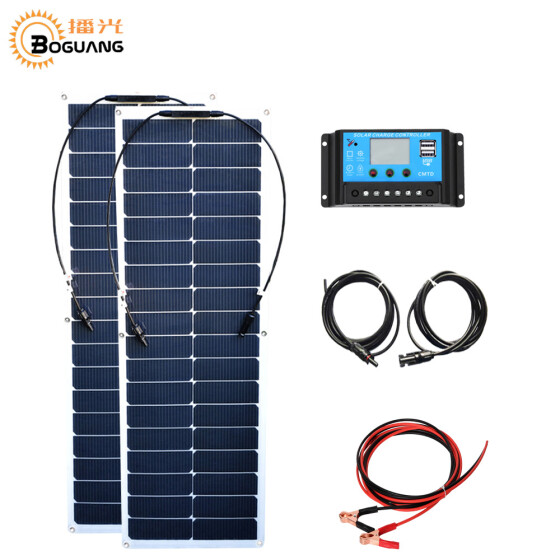 50W Solar Panel Battery Charger+10A Controller+Bulb For Boat Car Home Camping