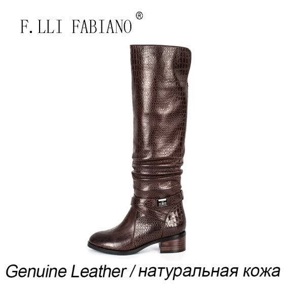 F.LLI.FABIANO 2015 Winter Fashion Lxurious Boots for Women ZR10961-Q01M Low Square Heel Long Knee High with Plicated Leather Ank