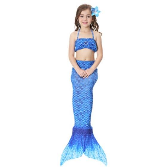 5c2b5d8af Traje de cola de sirenita de los niños Ariel Bikini traje de baño de verano  vestido