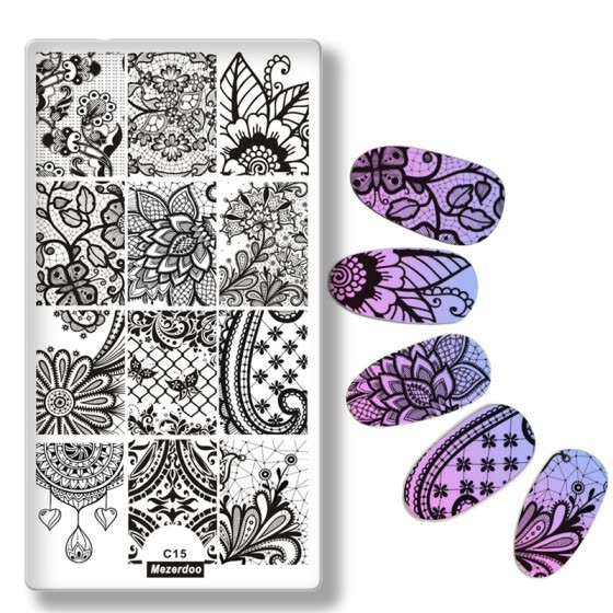 shop lace vine net style nail art stamp plate nail art template