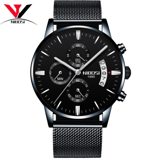 NIBOSI Quartz Wrist Watch Male Clock Men Watch Fashion Top Brand Luxury Wristwatch Mesh Strap Stainless Steel Waterproof Relogios