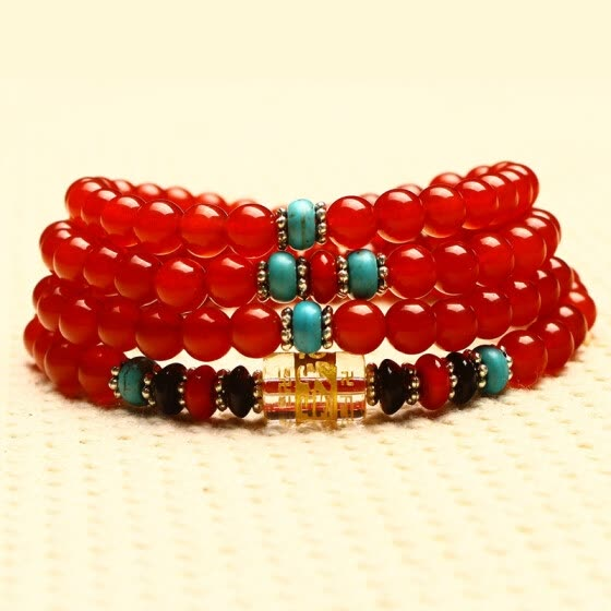Real Natural Red Agate Bracelet 108 Beads Crystal Gem Stones Jewelry Energy Gift For Women Men Carnelian Onyx Turquoise Bangles