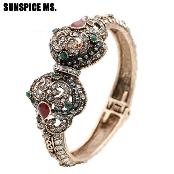 SUNSPICE MS. New Turkish Love Charm Vintage Cuff Bracelets & Bangles For Women Antique Gold Color Bohemia Indian Bangles Jewelry