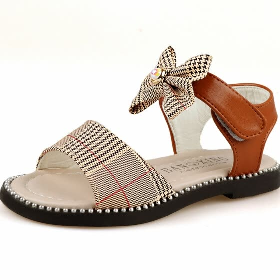 d0b3f58ec 2018 New Children Shoes Fashion Girls Sandals Summer Genuine Leather Soft  Leather Cute Bow Girl Sandals