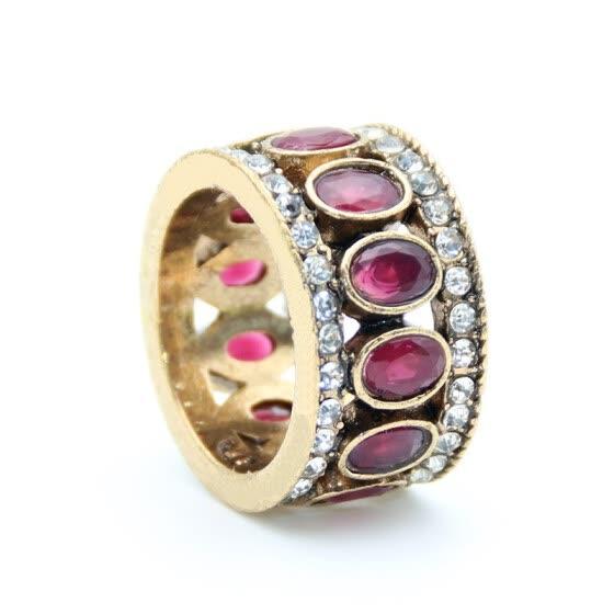 Vintage Turkish Finger Rings Women Round Oval Resin Crystal Caesar Ring Antique Gold Color Ethnic Men Wedding Jewelry Crown Ring