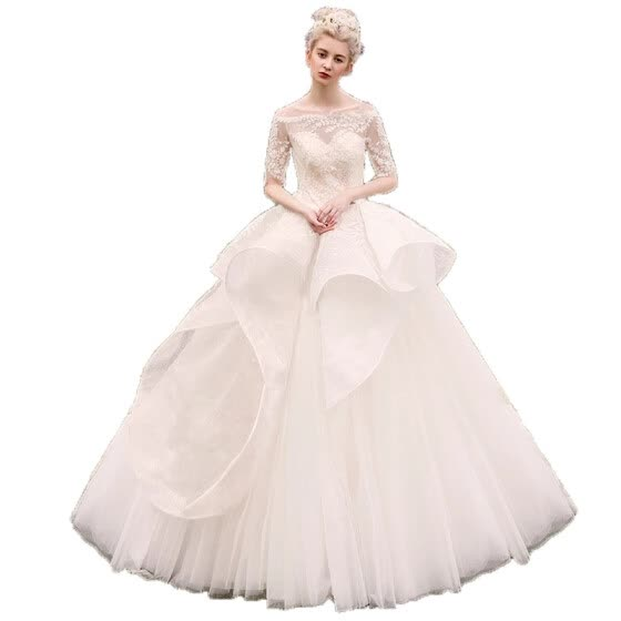 Illusion Tiered Wave Backless Lace Half Sleeves Ball Gown Wedding