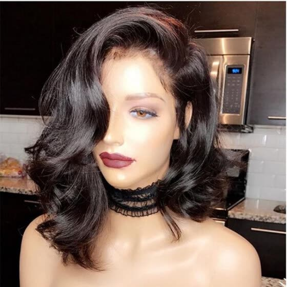 Shop Wavy Human Hair Short Lace Front Wigs 130 Density Brazilian Virgin Hair Full Lace Short Bob Wigs With Baby Hair Online From Best Human Hair Wigs On Jd Com Global Site