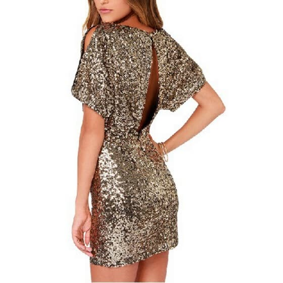 Женская футболка Bigood Gold Sequins Backless Bodycon Mini Dress Party Юбка