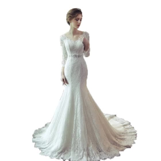 Full Lace Long Sleeves Fishtail Wedding Dress