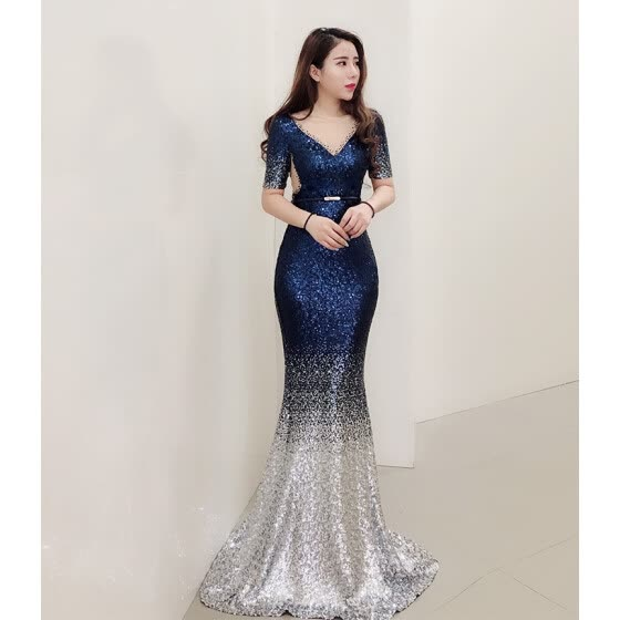 Evening dress female new celebrity banquet party birthday party dress was thin host dress long section