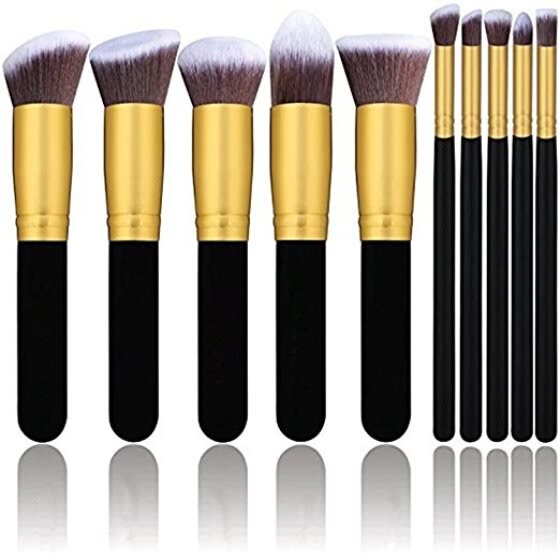 Diow Makeup Brushes 10Pcs Gold Synthetic Kabuki Cosmetics Foundation Blending Blush Eyeliner Face Powder Makeup Brush Set Kit