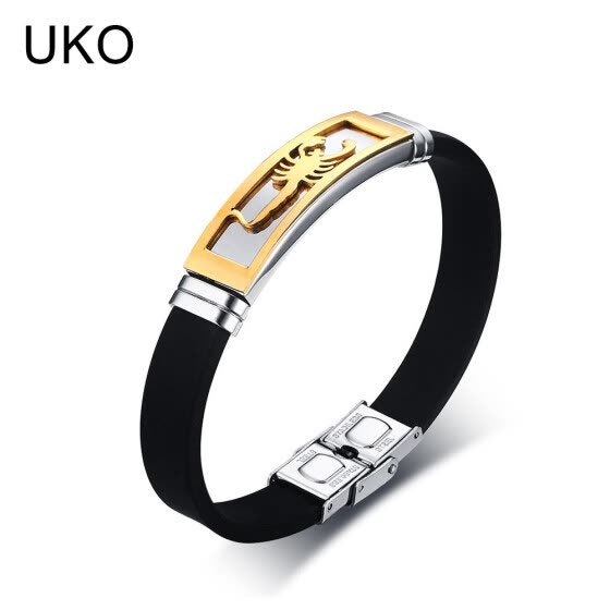 UKO Scorpion Bracelet Men Jewelry Stainless Steel Silicone Chain Souvenirs and gifts for Male 20.5cm