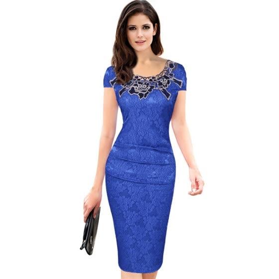 0f9bfcac9c012 Shop 2018 Casual Summer Blue Lace Retro Work Dress Vestidos Bodycon ...
