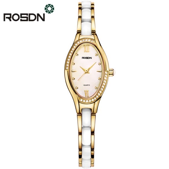 7ac4fd941562 ROSDN Brand Women Rose Gold Watch Luxury Crystal Sapphire Ladies Ceramic  Band Quartz Watch Waterproof Wristwatches