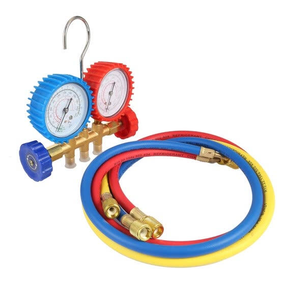 Refrigerant Tables Colored-hoses Manifold Gauges Tools Set