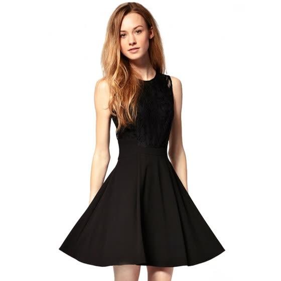 Charming Sheer Lace Tight Waist Black Sleeveless Chiffon Dress