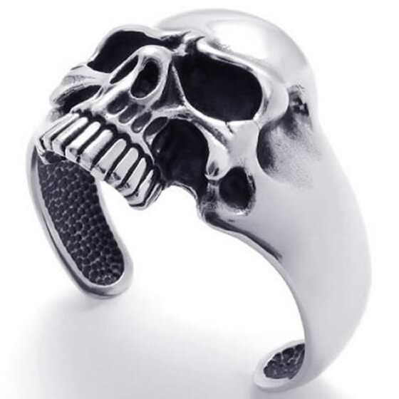 Hpolw men Vintage fashion Black&Silver Stainless Steel Skull/skeleton Biker Tribal Cuff Bracelet