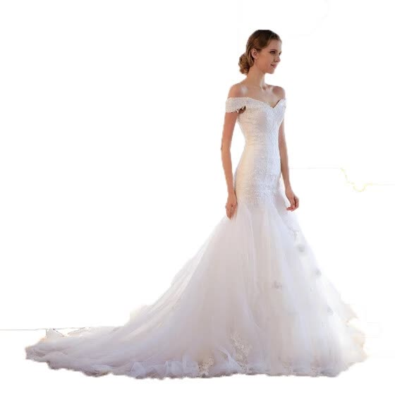 Shop Pure White Off Shoulder Lace Up Pearls Mermaid Wedding Dress