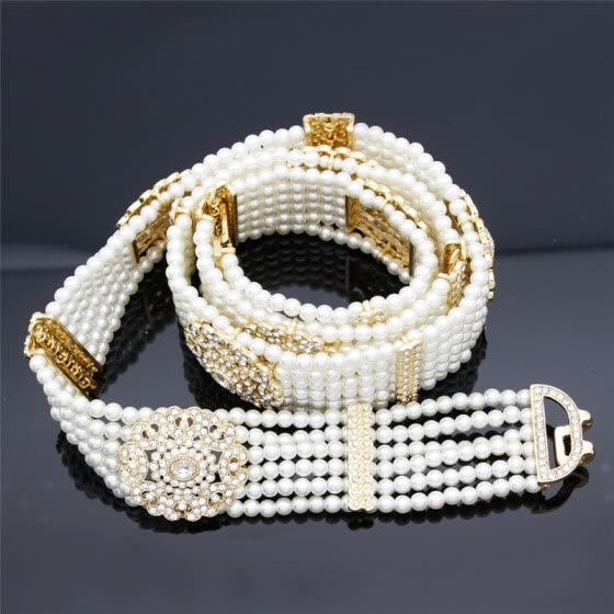 Luxuriant Women Beaded Waist Chain Medieval Noble Belt Adjustable Length Jewelry India Bridal Nigeria Wedding Hollow Flower Belt