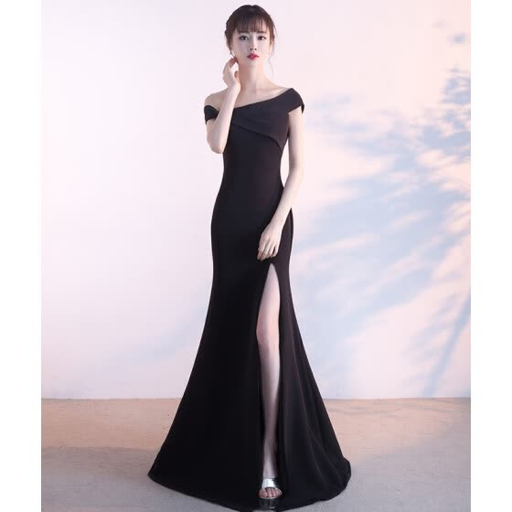 bd7c295d467 One-Shoulder Bridal Toast Dress Korean Fashion Long Sexy Fishtail Evening  Dress