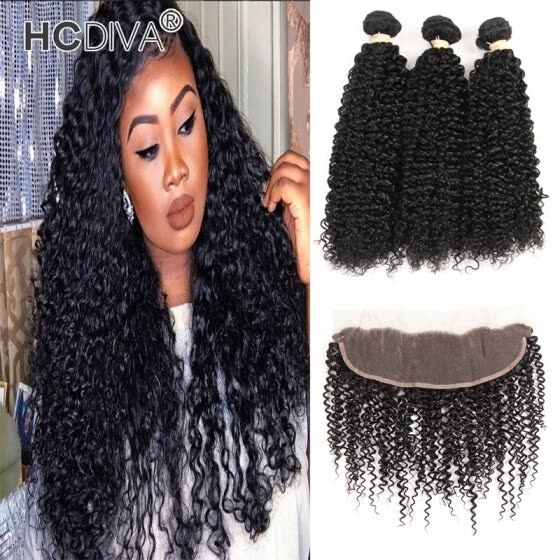 HCDIVA Indian Virgin Hair Kinky Curly Lace Frontal Closure with 3 Bundle Human Hair Extensions Curly Weave Natural Black 8-28 inch
