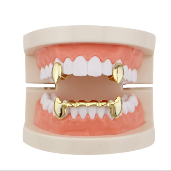 Akane Hip Hop Golden Teeth Grill Top And Bottom Grill Tooth Mouth Punk Teeth Hats Cosplay Party Tooth Rapper Jewelry Gifts