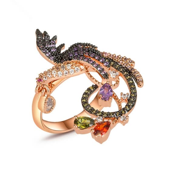 Aiyaya Trendy Bird Of Wonder Phoenix Rings For Women 18K Rose Gold Plated Vintage Jewelry With Tiny Cubic Zircon Paved