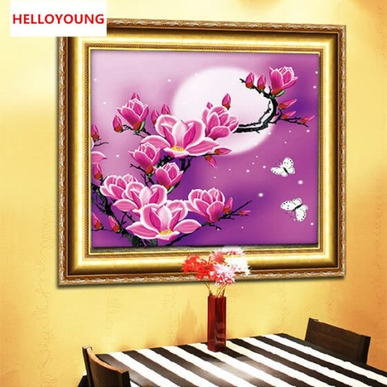 New 5D Magnolia flowers Home Decoration DIY Painting Embroidery Kit Round Diamond Painting Cross Stitch Sticker diamond
