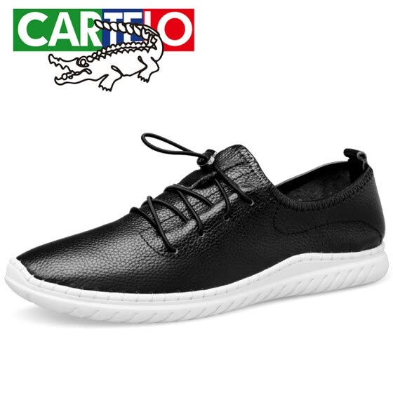 CARTELO light fashion men's shoes first layer leather casual shoes business shoes men's belt light running shoes men F171 black 43