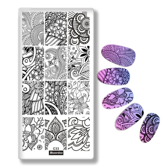 Nail Stamping Plates Plants Mandala Sun Flowers Series Geometry Line Leaf Design Nail Art Stamp Template Image Plate Stencil C33