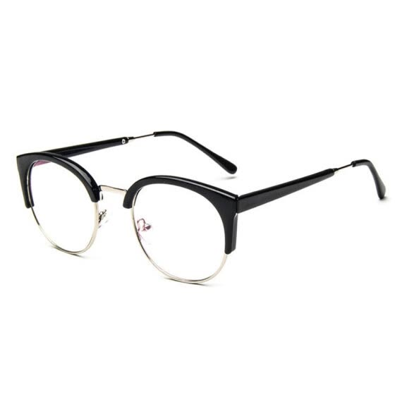 40db26b357d women eye glasses frame men Vintage metal round half frame Brand design eyeglasses  Myopia Glasses spectacles