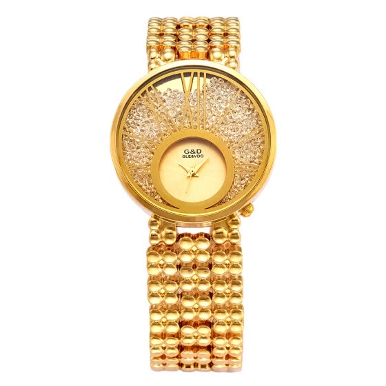 Quality Women Casual Crystals Clock Diamond Crystal Dial Quartz Wristwatch Bracelet Watches Full Czech Crystals Dress GD201510