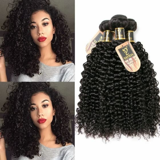 YAVIDA Hair Brazilian Virgin Hair Bundle Deals Unprocessed 4 Bundles Kinky Curly Virgin Hair Weave Hair Human Bundles Afro Kinky C